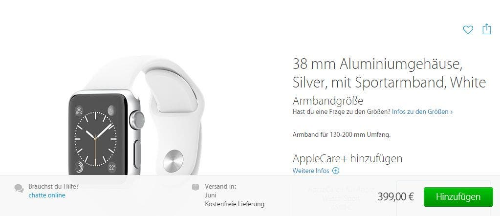 Screenshot: Apple Watch Sport auf der Apple-Seite