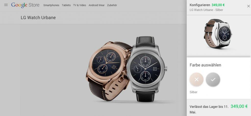 Screenshot:LG Watch Urban im Google  Store