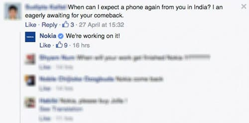 Screenshot von Nokia-Reaktion auf Facebook