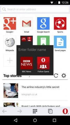 Screenshot Opera Mini Speed Dial Ordner
