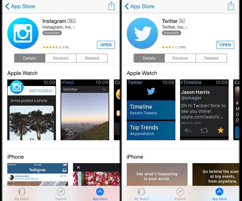 Screenshot des Apple Watch App Stores.