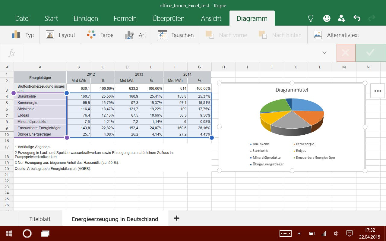 Excel Touch - Diagramm