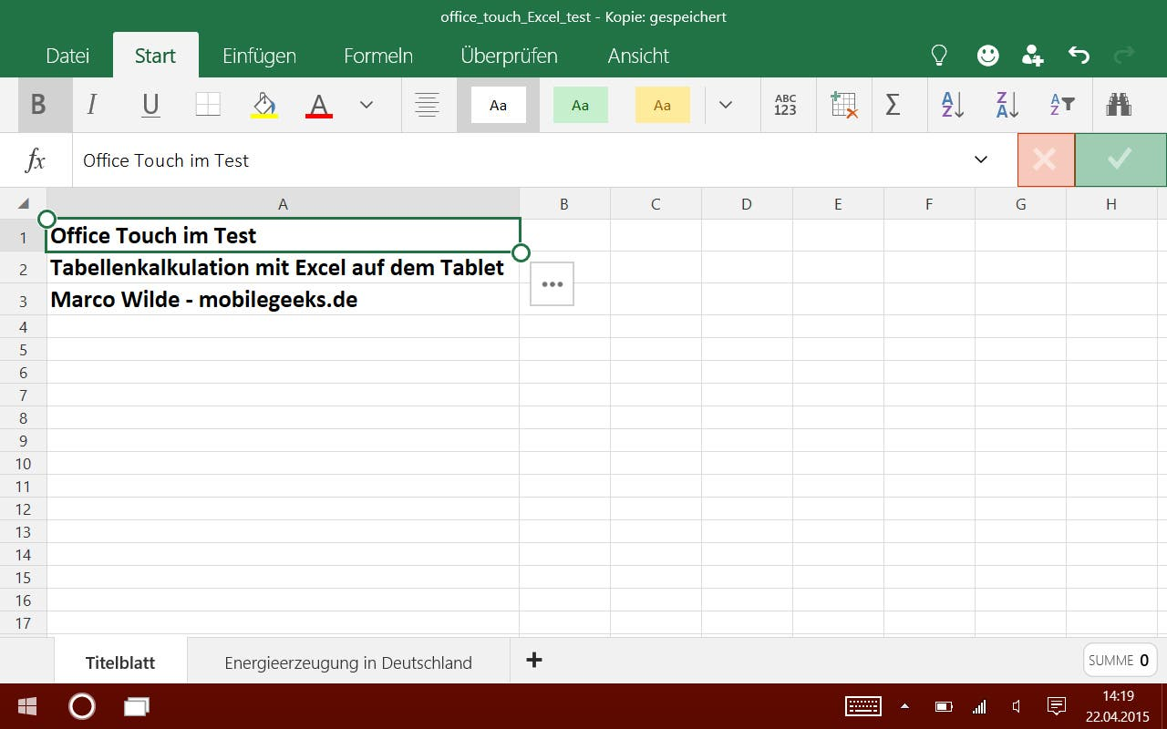 Excel Touch - Start