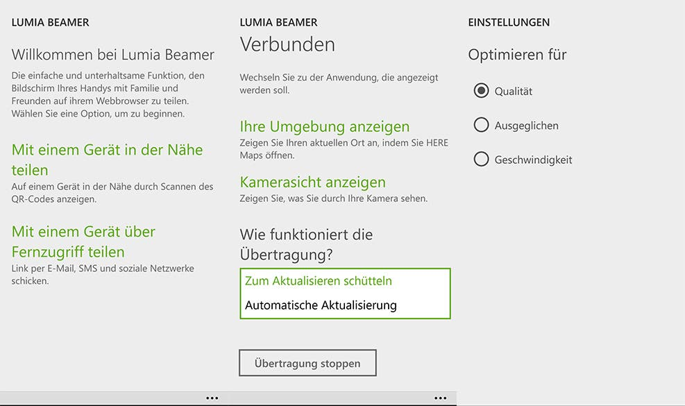 Lumia Beamer Screenshots Windows Phone