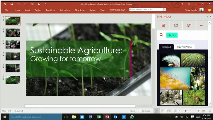 Powerpoint 2016 auf dem Desktop - Build 2015