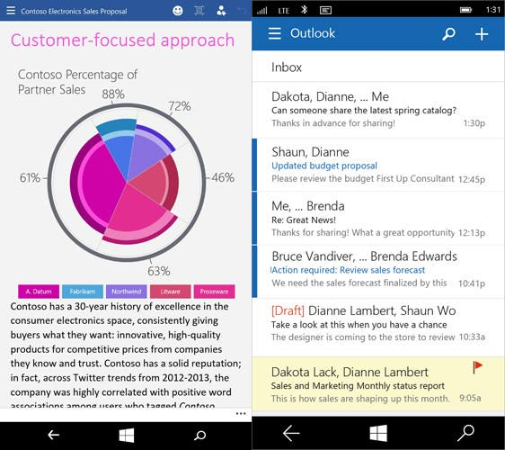 Word und Outlook Preview for Phones