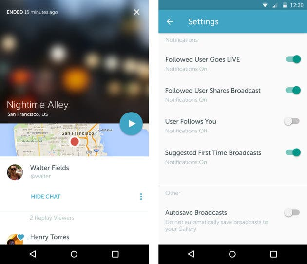 Screenshots: Periscope ffür Android