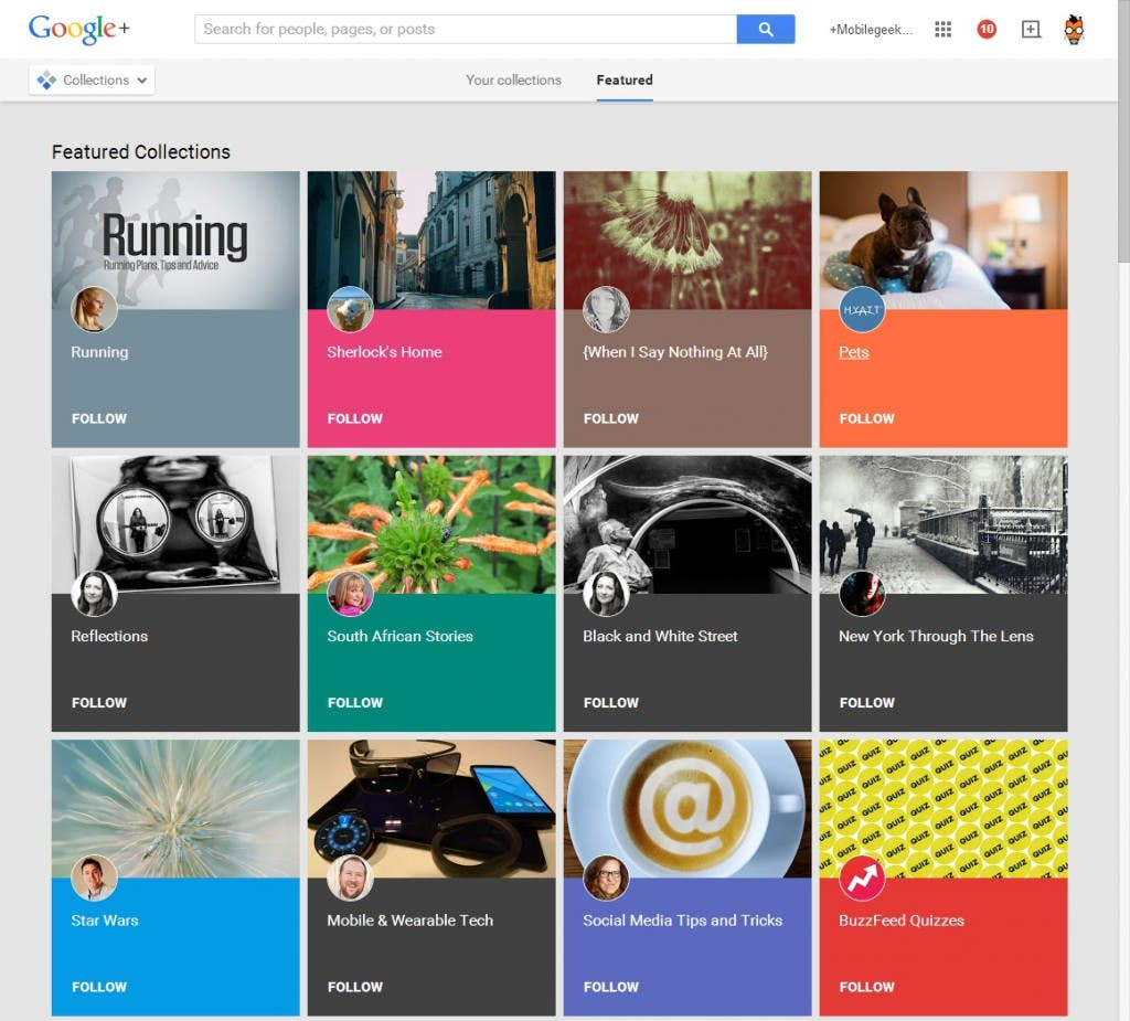 Google+ Collections Screenshot: empfohlene Collections