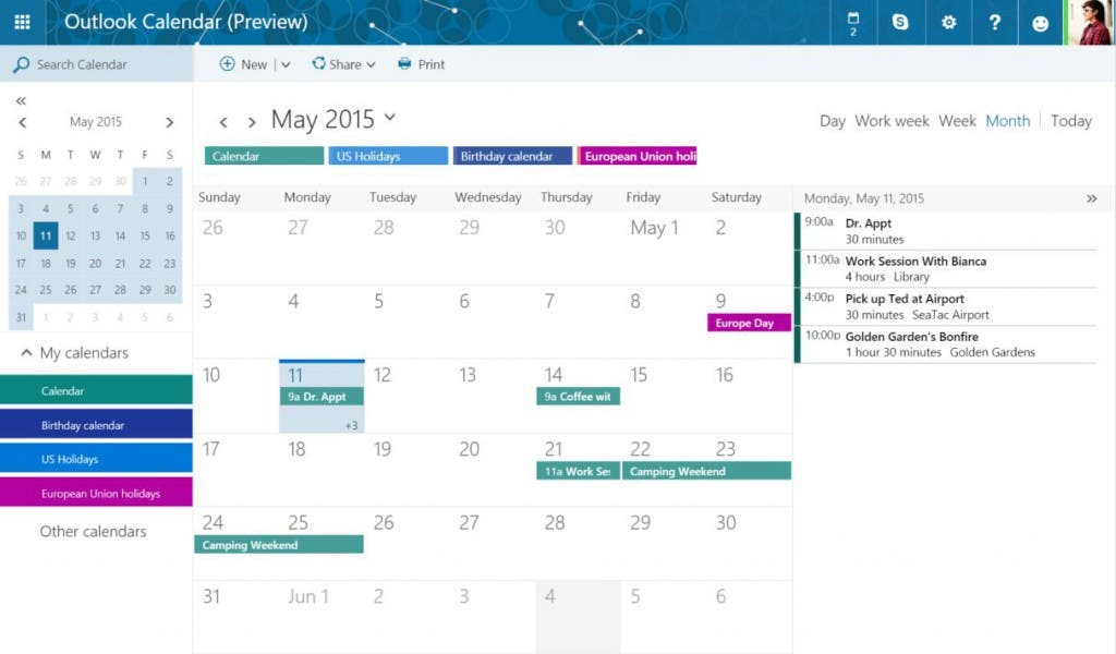 Outlook.com Kalender