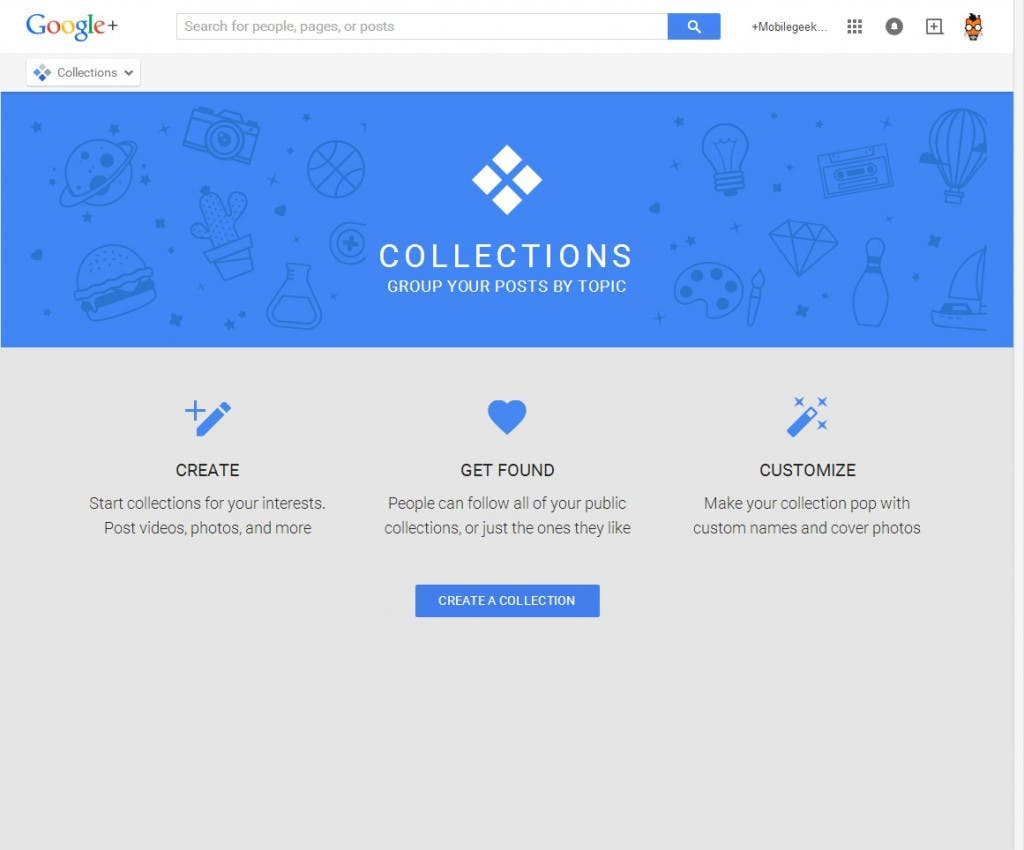 Google+ Collections Startseite
