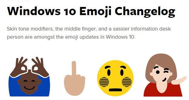 Emoji: Windows 10 Changelog