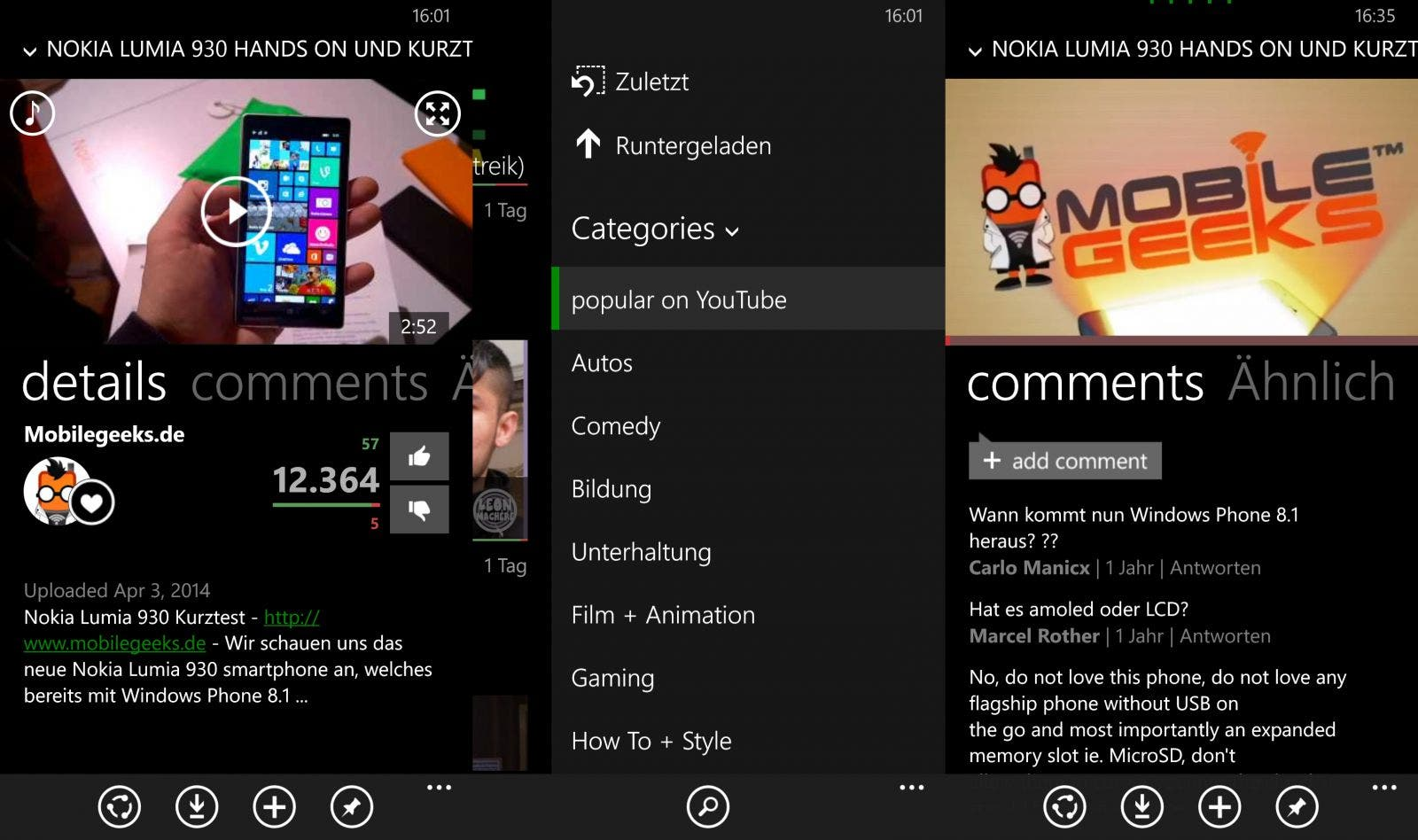 MetroTube Screenshots Windows Phone