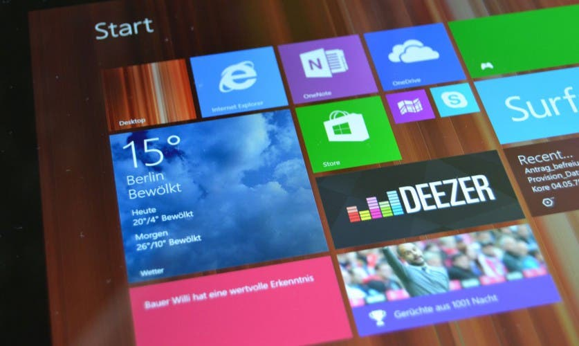 Windows 8.1 auf dem Surface 3