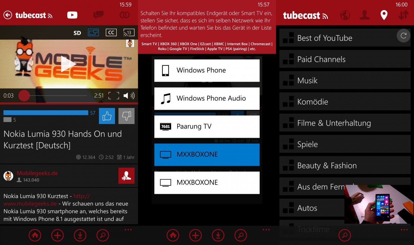 TubeCast Screenshots Windows Phone