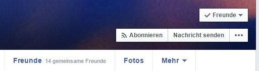 Screenshot: Abonnement bei Facebook