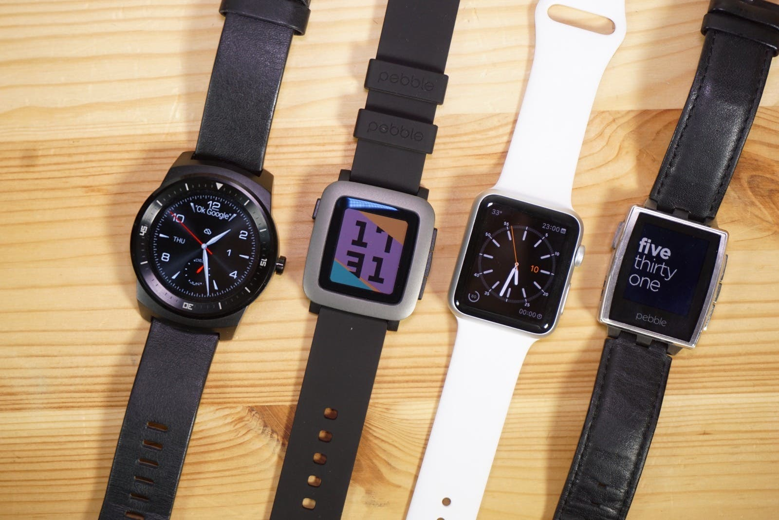 Pebble Time vs Apple Watch Sport vs G Watch R vs Pebble Steel Vergleich