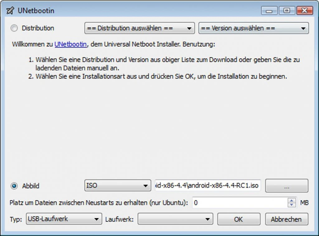 UNetBootin Android-x86