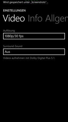 Lumia Camera Videoeinstellungen