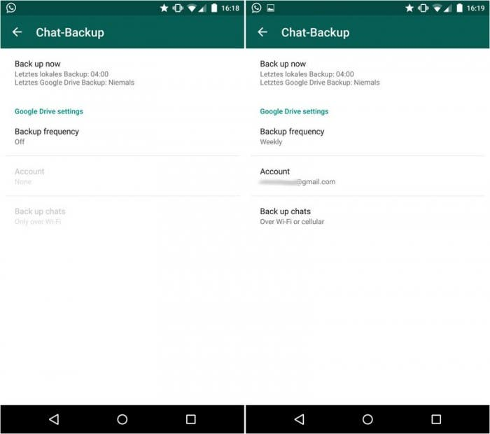 Whatsapp: Screenshot der Google Drive-Backup-Funktion