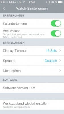 Alcatel One Touch Watch - Move App - Einstellungen