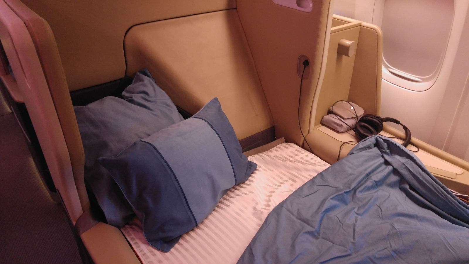 """Ab ins Bettchen"" in der Singapore Airlines Business Class"