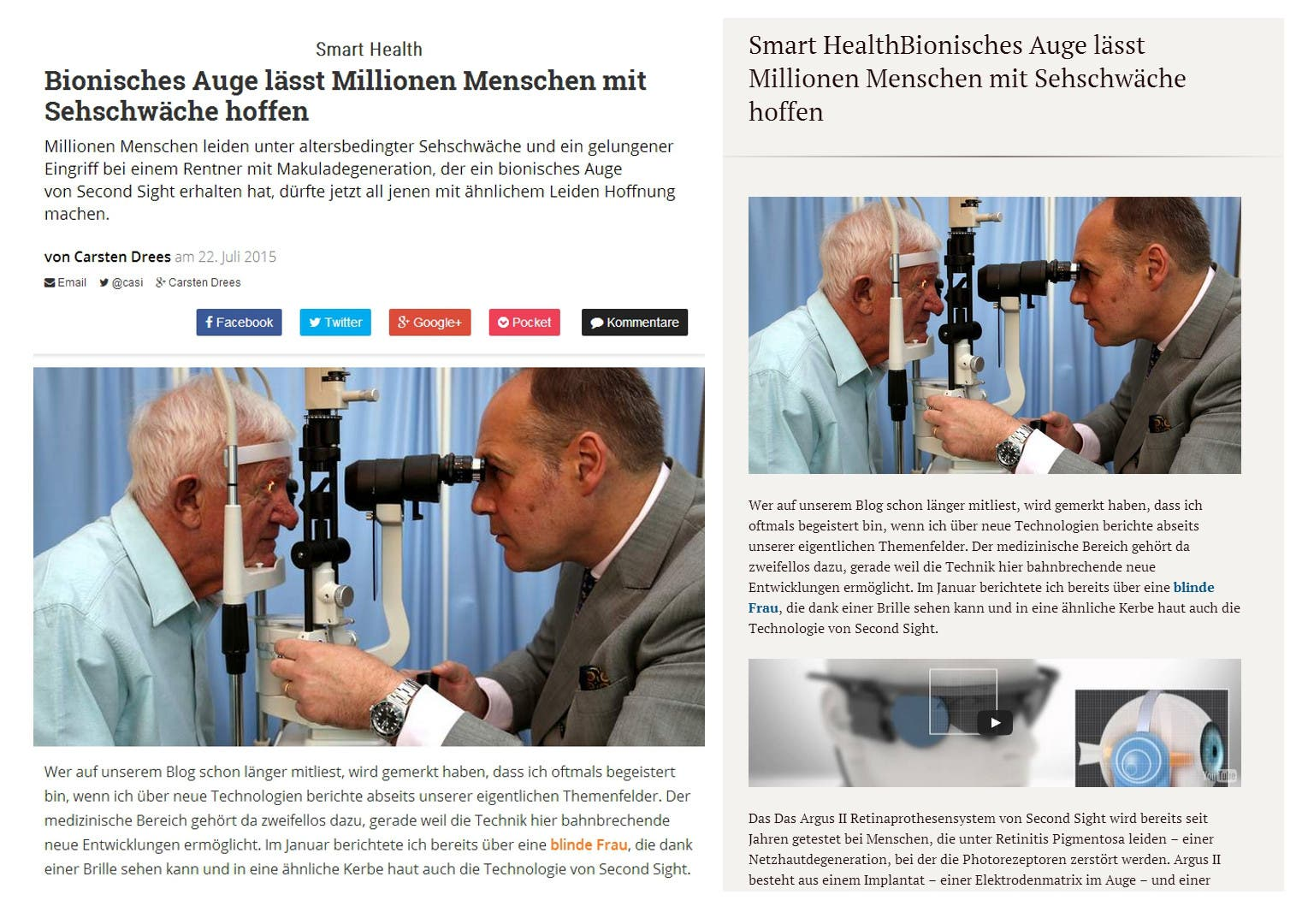 Links eine Website, rechts optimiert mit Clearly