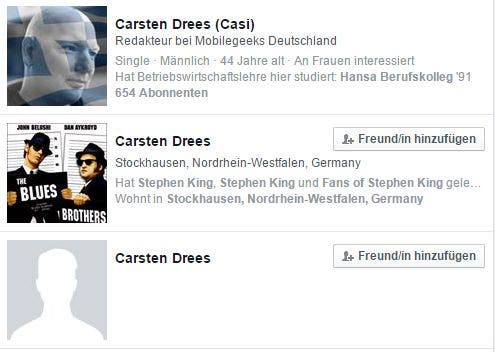"Screenshot: Facebook-Suche nach ""Carsten Drees"""
