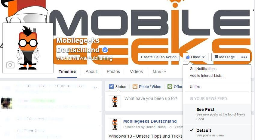 Screenshot: Mobilegeeks-Profil bei Facebook