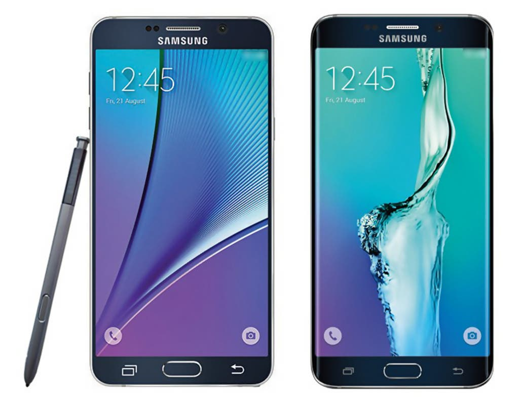 Links das Samsung Galaxy Note 5, rechts das Samsung Galaxy S6 Edge Plus (Presse-Render)
