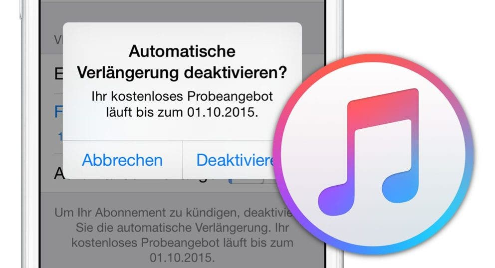 Screenshot: Apple Music deaktivieren