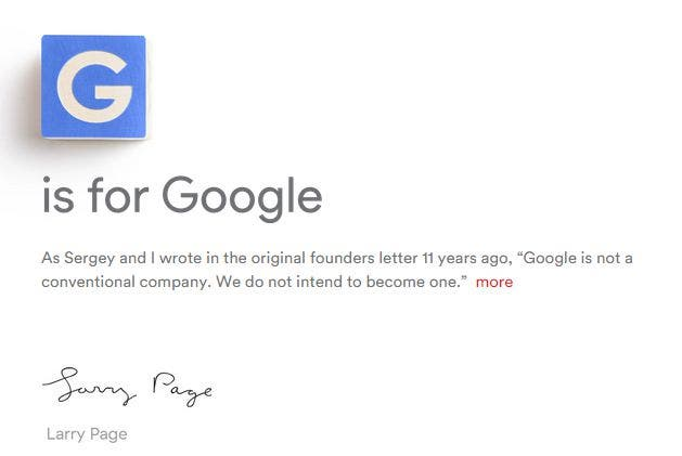 G is for Google: Screenshot der Alphabet-Seite