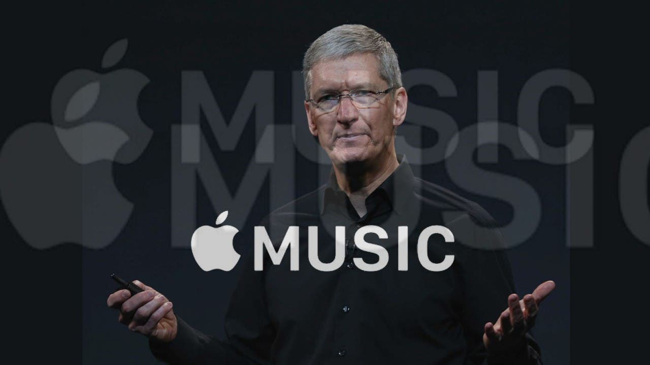 Tim Cook und Apple Music-Logo