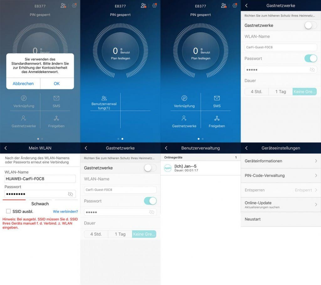 Huawei HiLink App Screenshots