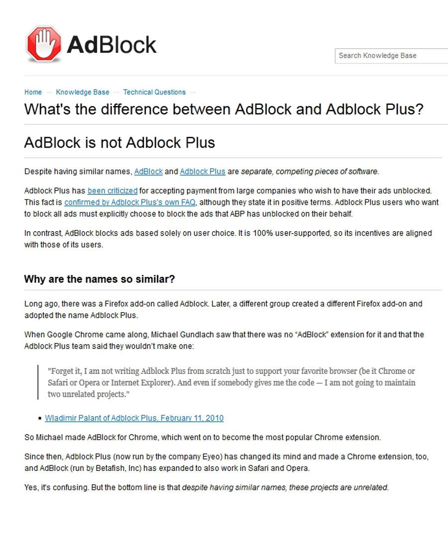 The Difference Between Adblock And Adblock Plus