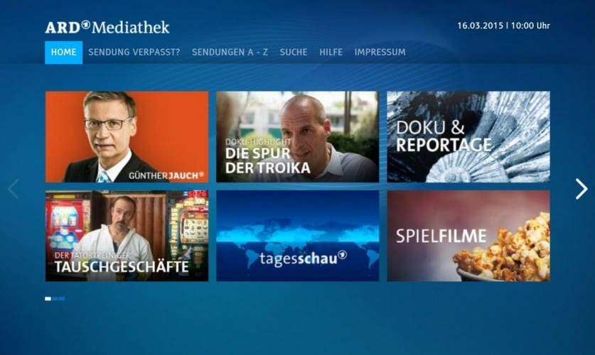 Screenshot: ARD Mediathek für Fire TV