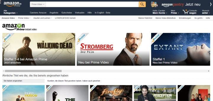Amazon Prime Instant Video: Screenshot der Startseite