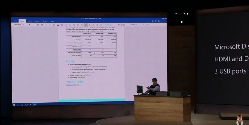 Microsoft Display Dock Präsentation - Word - Screenshot