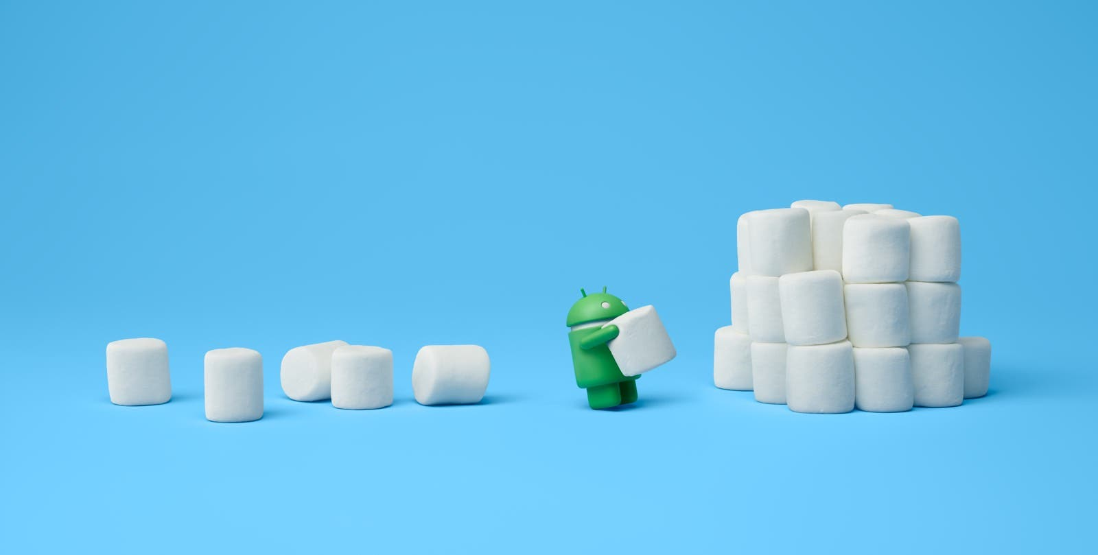 Android-Männchen stapelt Marshmallows