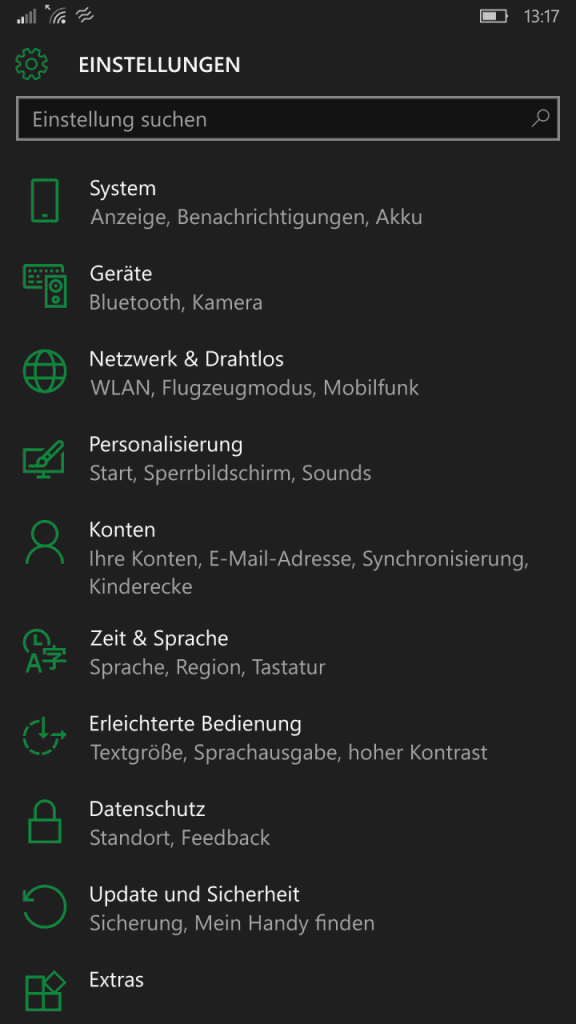 Windows_10_Mobile-Einstellungsmenü