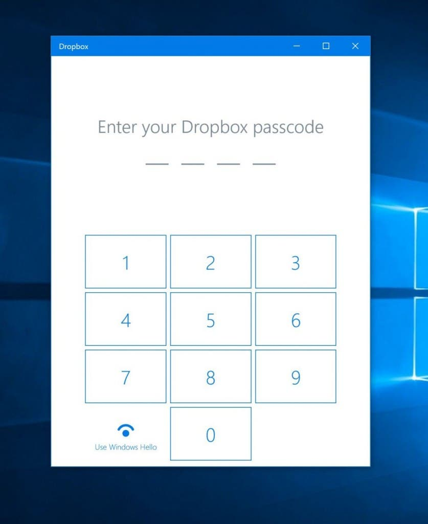 Dropbox mit Windows 10 Hello