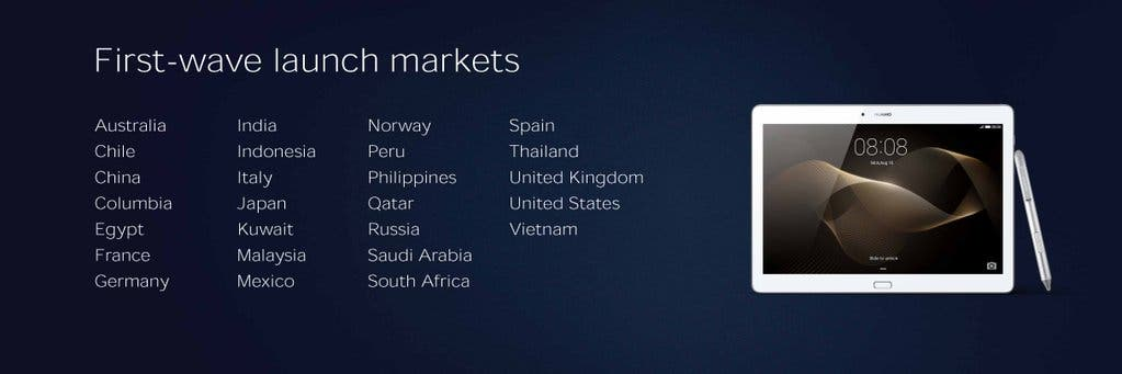 Huawei MediaPad M2 Launch markets