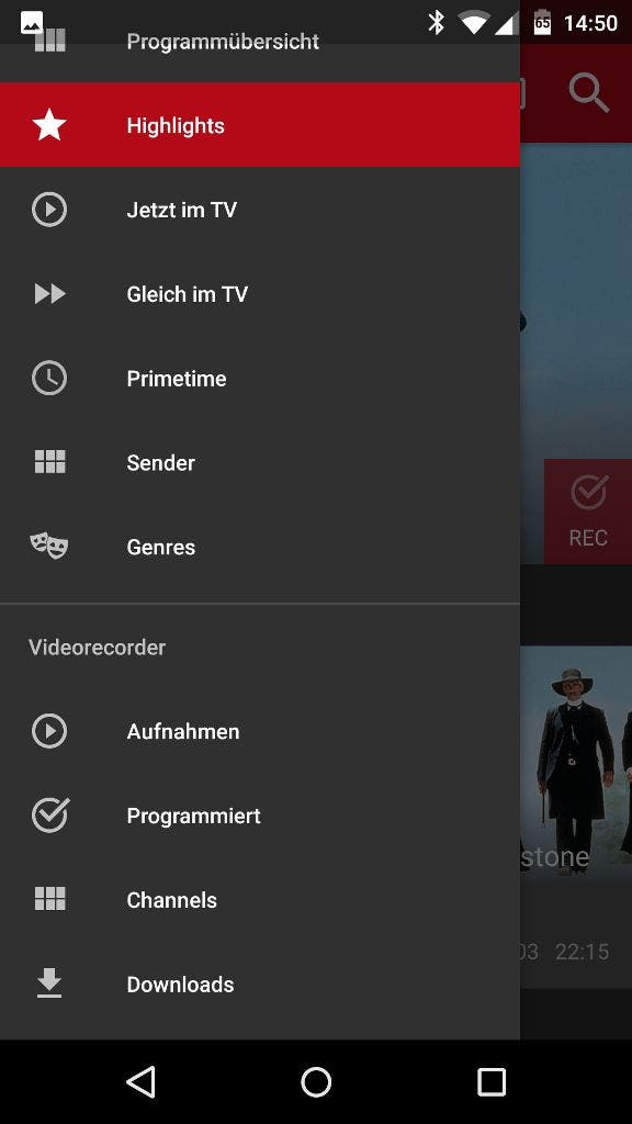 Save TV App Menü