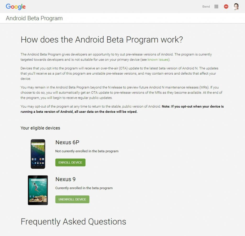 Android Beta Programm