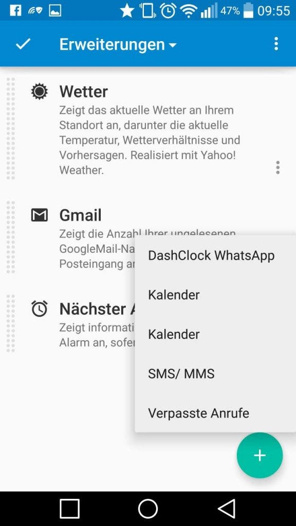 DashClock WhatsApp Screenshot
