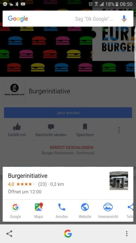 Google Now on Tap - Screenshot Restauran-Facebook-Seite