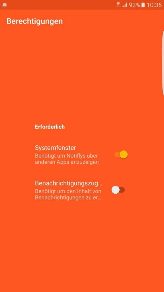 Notifly Screenshot - Berechtigungen