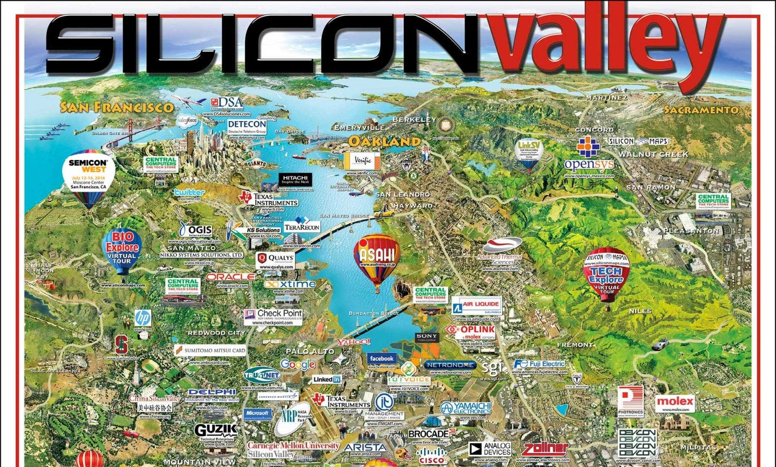 Silicon Valley Karte.Top 10 Punto Medio Noticias Silicon Valley Company Map 2018