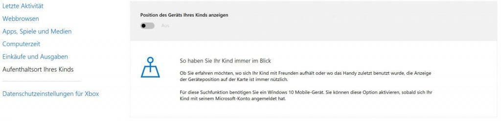 Windows 10 Family Safety Aufenthaltsort Ihres Kindes