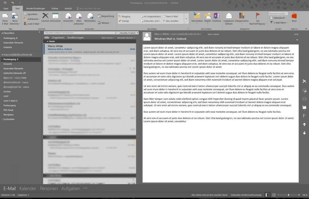 Outlook Mail Userinterface
