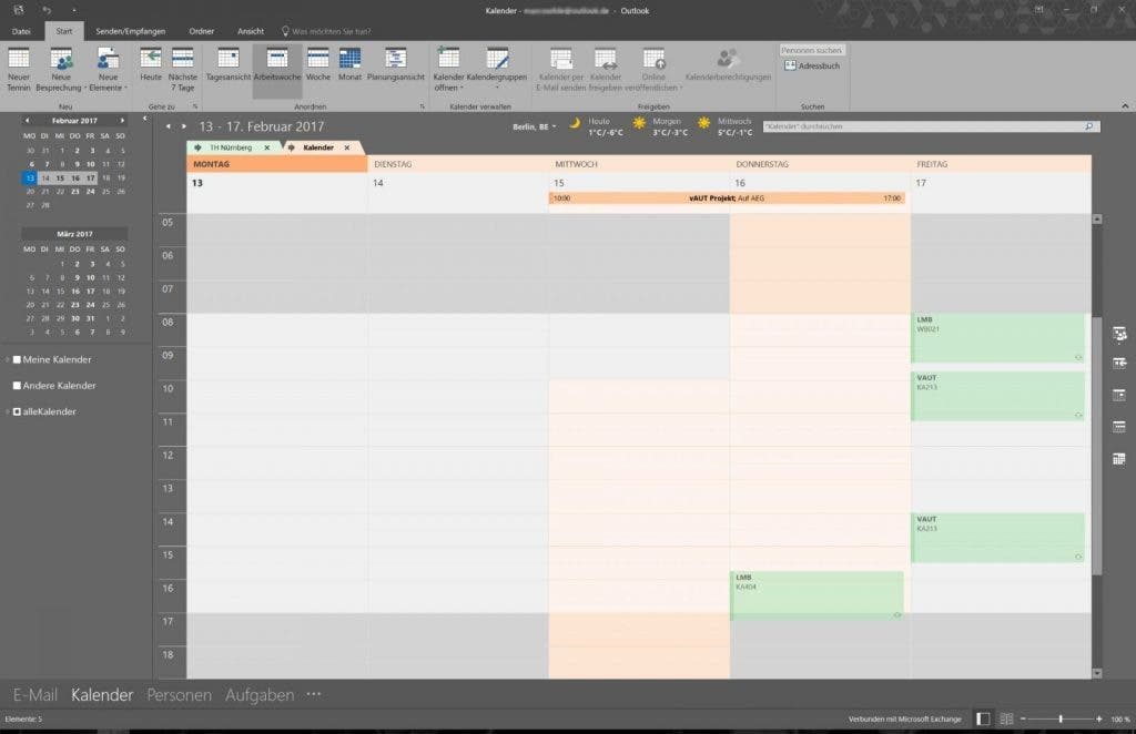 Outlook Kalender Userinterface